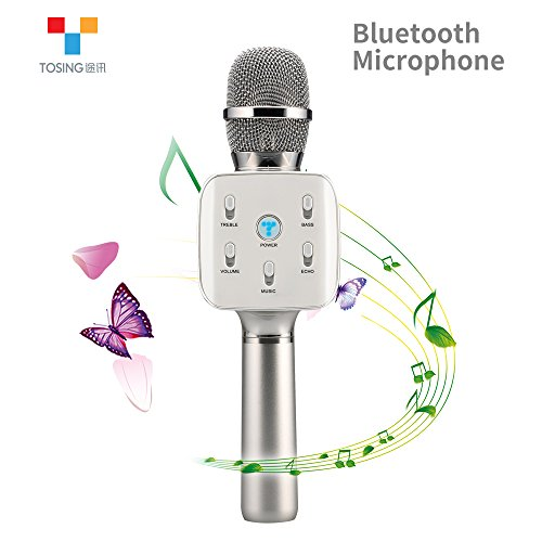 TOSING Q7S Wireless Karaoke Microphone Bluetooth Speaker 2-in-1 Handheld Sing & Recording Portable KTV Player Home KTV Music Machine System for iPhone/Android Smartphone/Tablet Compatible (silver) (Telephone Number For Amazone)