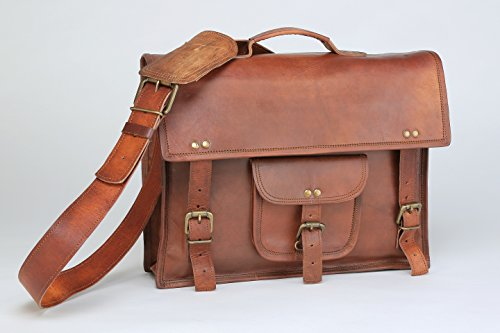 Hlc Leather 15 Inch Laptop Vintage Look Leather Messenger Briefcase Satchel Office Mens Handmade Bag