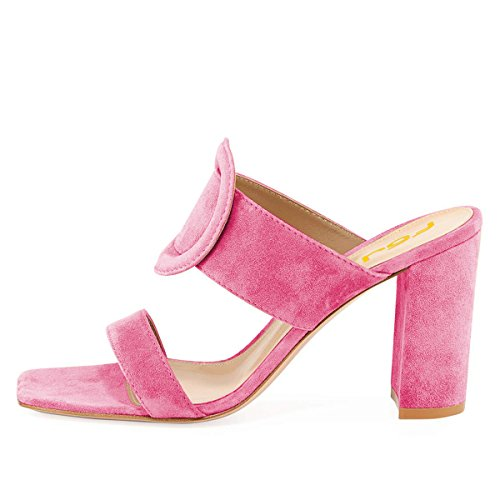 Dress Mules Slip US Size Open Pink Chunky Heels Hot 4 On Chic Casual Toe Women FSJ 15 Shoes Sandals Fx0wa8APaq