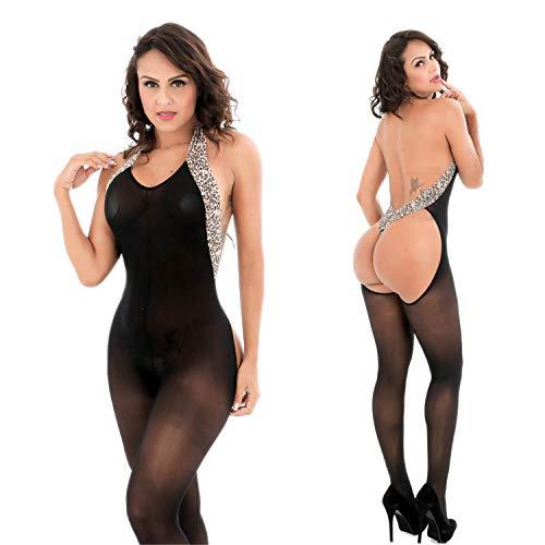 Women Leopard Hanging Neck Bodystockings Perspective Underwear Pajama Nightgown (Black)