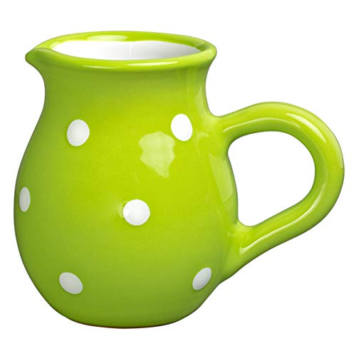 City to Cottage Handmade Lime Green and White Polka Dot Ceramic Creamer, Milk Jug, Pourer, Pitcher Jug, Pottery Housewarming Gift for Tea Coffee Lovers