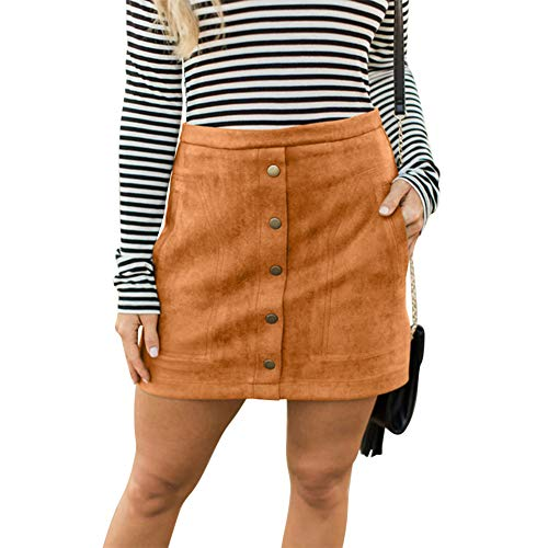 (Susupeng Women High Waist Soft Faux Suede Button Down Skirt Slim Back Zip Side Pocket Mini Skirts (X-Large,)