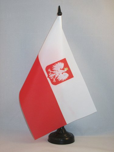 AZ FLAG Poland with Eagle Table Flag 5'' x 8'' - Polish Coat of arms Desk Flag 21 x 14 cm - Black Plastic Stick and ()