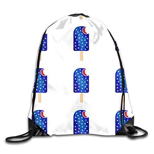 (TPSXXY Star Studded Ice Cream Large Christmas Drawstring Bag Santa Present Bag Basket Gifts Sack)