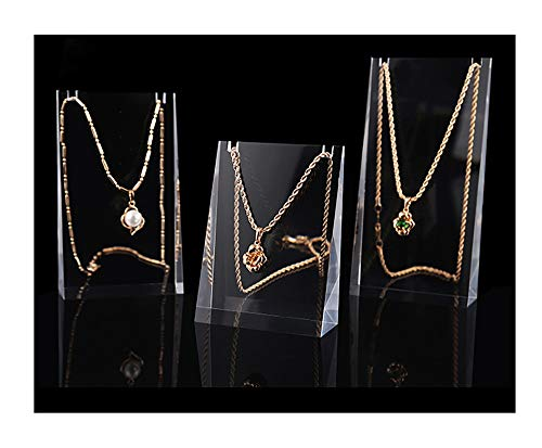 Beautiful Acrylic Jewelry Display Necklace Stand Clear Modern Design Premium Grade Photography Exhibition Store Trade Show Sales Picture Unique (Set of 3)