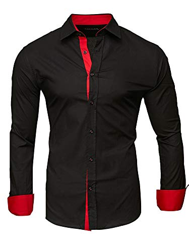 Repassage Modell Uni Coton red Manches Chemise Facile Slim Kayhan Black Longues S Fit 6xl Homme wIq4xUH