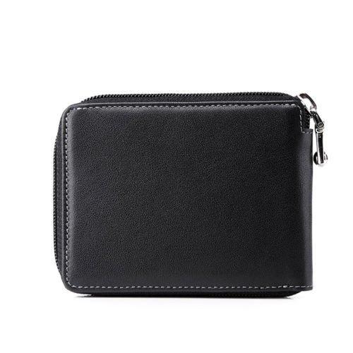 Men Cowhide Leather Casual Zipper Clutch Wallet Passcase Card Case Holder Purse