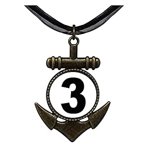 Chicforest Bronze Retro Style Black Number 3 Anchor Pendant
