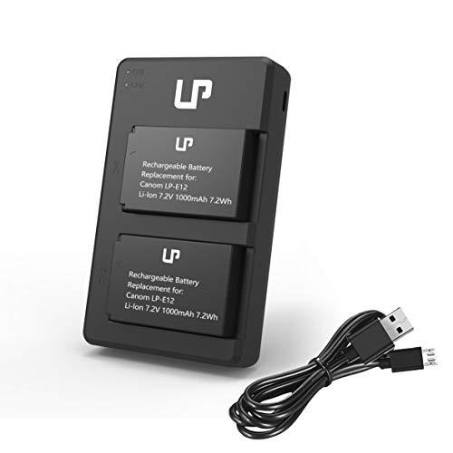 LP-E12 Battery Charger Pack, LP 2-Pack Battery & Dual Slot Charger, Compatible with Canon EOS M100, M50, M10, M2, M, Rebel SL1, 100D, PowerShot SX70 HS, Kiss M, Kiss X7 & More