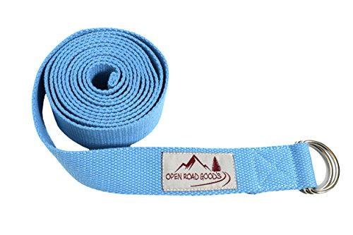 8ft Extra Long 100% Cotton Yoga Strap with Bag: Light Blue