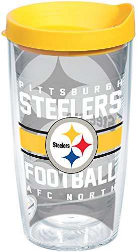 (Tervis 1180577 NFL Pittsburgh Steelers Gridiron Tumbler with Wrap and Yellow Lid 16oz, Clear)