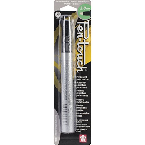 Sakura 41582 Blister Card Pentouch Metallic Ink Marker, Medium, Silver ()