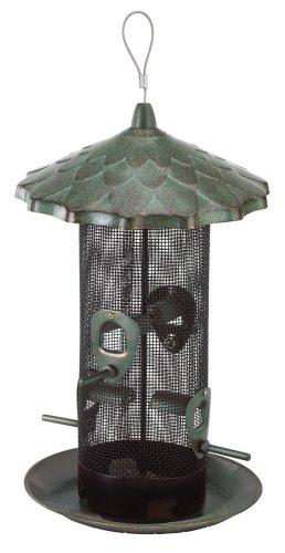 (Belle Fleur 50174 Capacity, Rustic Green Stokes Select Acorn Feeder, 4 Feeding Ports, 2.6 Pounds Bird Seed, Patina)