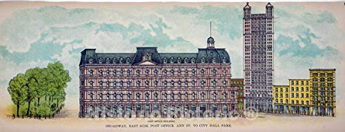 (Historic Pictoric 1899 Print | Broadway, East Side. Post Office. Ann St. to City Hall Park. | Vintage Wall Art | 48in x 24in)