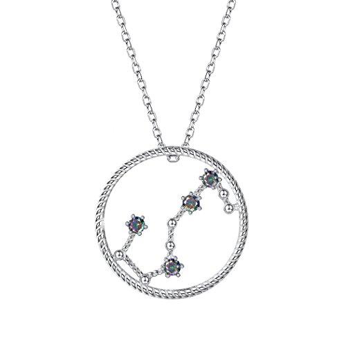 (SILVERCUTE Horoscope Constellation Jewelry Birthday Gift 925 Sterling Silver Topaz Zirconia Zodiac Sign Pendant Necklace Scorpio (10.24 ~ 11.22))
