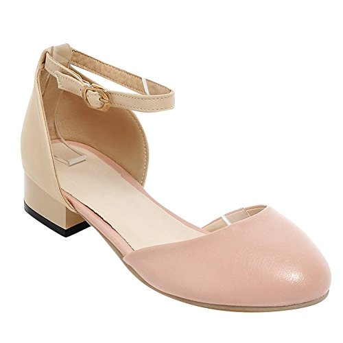 Carolbar Women's Fresh Casual Low Heel Assorted Colors Court Shoes Pink 2wqtej