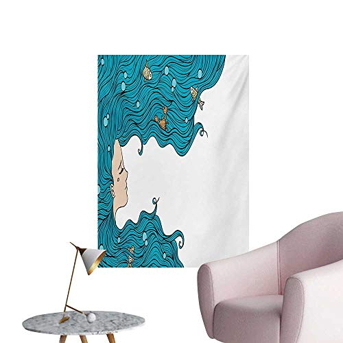Anzhutwelve Underwater Wallpaper Girl with Oceanic Hairstyle Fishes and Crab in Waves Imaginary ArtworkPetrol Blue White W20 xL28 Wall Poster ()