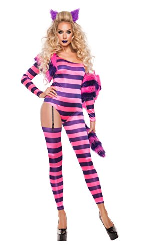 Starline Women's Trippy Kitty Jumpsuit Sexy 5 Piece Costume Set, Pink/Purple, Small - Sexy Kitty Cat Costumes