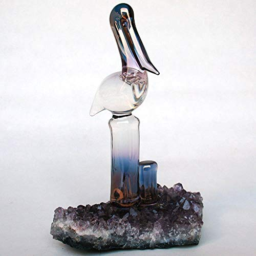 Blown Crystal Glass Amethyst - Pelican Figurine of Hand Blown Glass on Amethyst Crystals