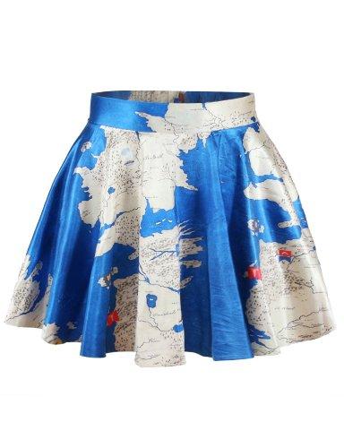 Ninimour- Women's Basic Versatile Strechy Flared Skater Skirt (Blue Map)