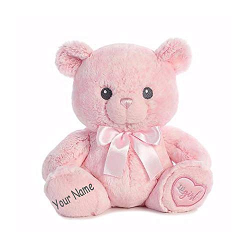 Ebba Personalized Lil Girl Baby Pink Teddy Bear Plush Stuffed Animal Toy with Custom -