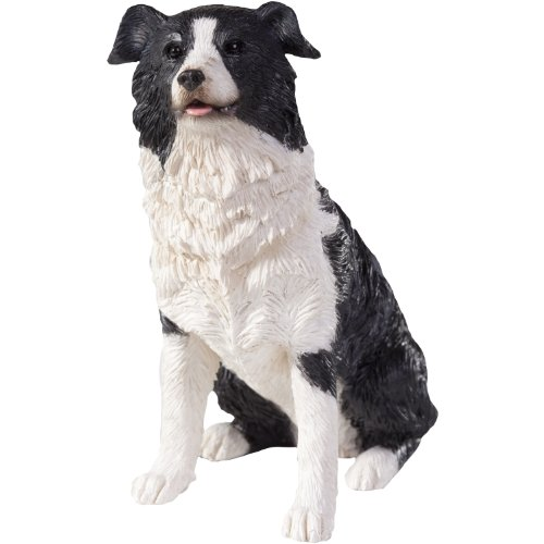 Figurine Sandicast (Sandicast Border Collie Sculpture, Sitting, Small Size)