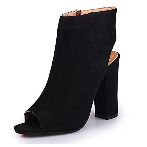 Adorable Black Peep Toe (Slduv7 Peep Toe Zip up Bootie Chunky Heel Faux Suede Slingback Pumps Boots For Women)