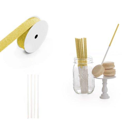 Dress My Cupcake 8-Inch Glitter Cakepop and Dessert Stick DIY Kits, Gold Glitter, 500-Pack by Dress My Cupcake