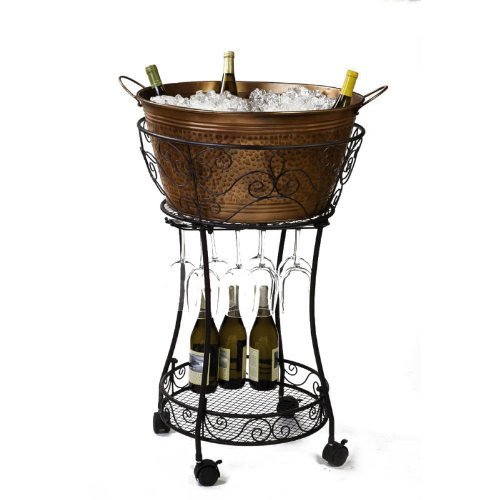 Cape Craftsmen 8DTM004 Evergreen Hammered Faux Copper Chiller with Wine Glass Storage And Shelf