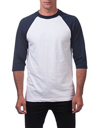Pro Club Men's 3/4 Sleeve Baseball Shirt - Large - Wht/Navy]()