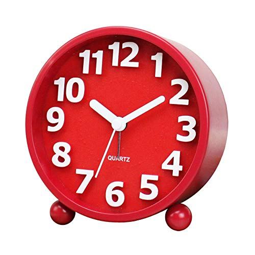 JUSTUP Small Silent Table Clock,4 inch Metal Classic Non-Ticking Alarm Clock with Battery Operated Backlight HD Glass for Bedroom Living Room Kitchen Indoor Décor (Red)