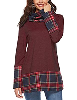HUHHRRY Womens Long Sleeve Cowl Neck Tunic Tops Casual Plaid Sweatshirts Pullover