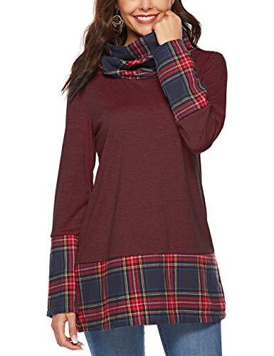 HUHHRRY Women's Tunic Tops Long Sleeve Lightweight Sweatshirt Pullover Jersey Shirt