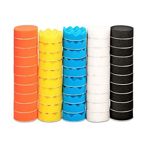 ZFE 50pcs 3 inch/80 mm Sponge Buffing Pads, Foam Polishing Pad Kit for Car Sanding, Polishing and Waxing