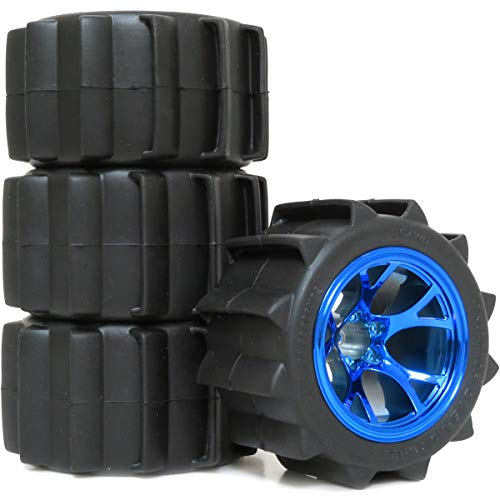 - hobbysoul 4pcs RC 2.2 Paddles Tires Sand Snow Tyres OD (Height ) 94mm & 2.2 Truck Wheels Rims hex 12mm