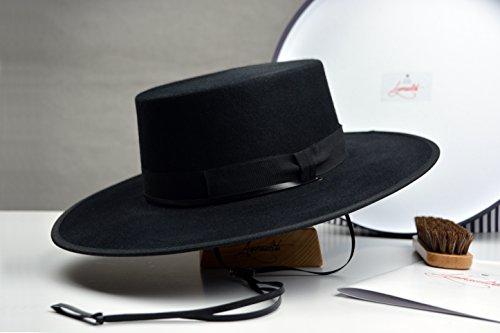 The Gaucho - Black Rabbit Fur Felt Flat Crown Bolero Hat - Wide Brim - Men Women by HNC-HatWorks