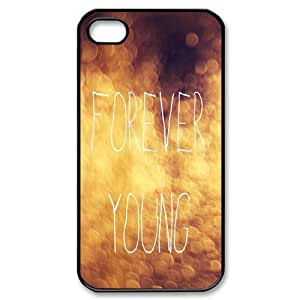 wugdiy DIY Protective Snap-on Hard Back Case Cover for iPhone 4,4S with Forever Young Watercolor