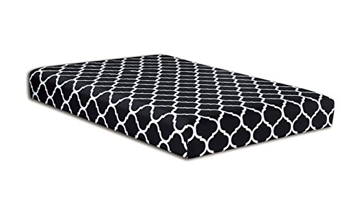 Price comparison product image QUEEN size, BLACK Quatrefoil Fitted Bed Sheet - Super Silky Soft - SALE - High Thread Count Brushed Microfiber - 1500 Series-Wrinkle, Stain Resistant, Deep Pockets, 100%