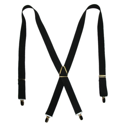 [CTM Men's Elastic X-Back Suspenders with Brass Hardware, Black] (Office Space Costume)