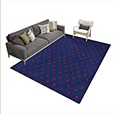 Carpet,Polka Dots Star Figures Background Artsy Retro Style Little Circles Illustration,Indoor Outdoor Rug,Dark Blue Red,6'x7'