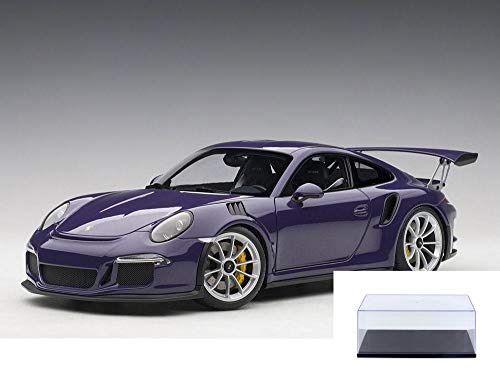 AUTOart Diecast Car & Display Case Package - Porsche 911 (997) GT3 RS, Ultra Violet Purple 78169 - 1/18 Scale Diecast Model Toy Car w/Display Case