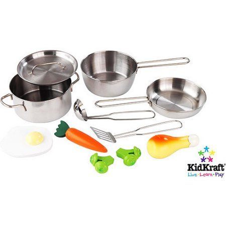 KidKraft Deluxe Cookware Set with 11 Pieces for Boys and Girls 3 Years and Up