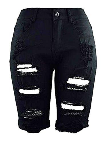 New Papijam Womens High Waist Knee length Distressed Ripped Denim Shorts supplier