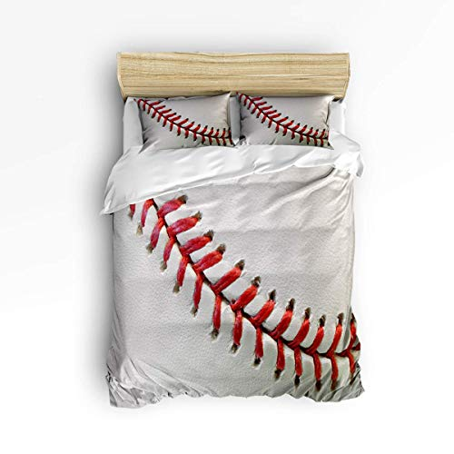 MOBEITI Soft Duvet Cover Sets Children Bed Sets for Girls Boys,3D Baseball Printing Bedding Sets,Include 1 Comforter Cover with 2 Pillow Cases Full Size