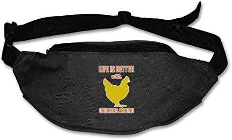 ユニセックスアウトドアファニーパックバッグベルトバッグスポーツウエストパックの周りの鶏の生活は良い