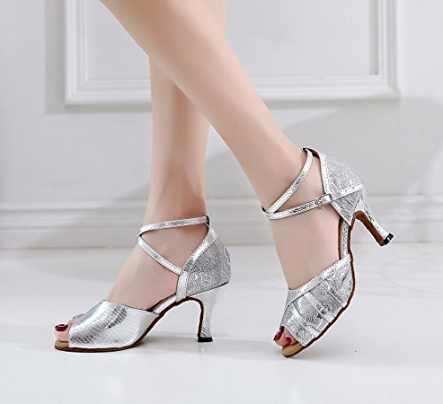 Evening Comfort Synthetic MGM Modern Peep Tango Latin Joymod Sandals Flared Shoes 7 Floral Silver Toe Heel Salsa Women's 5cm Ballroom Snakeskin Heel Prom Wedding Party Dance w00fqEU
