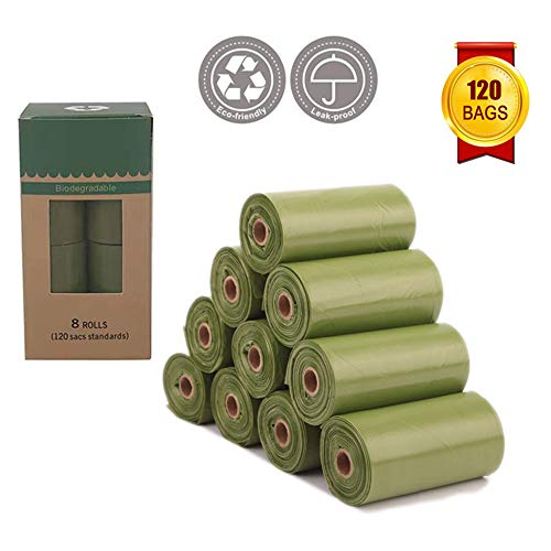 Runfit Biodegradable Dog Poop Bag, Dog Waste Bags (8 Rolls / 120 Count), Eco-Friendly Leak-Proof Pet Waste Bags for Doggy