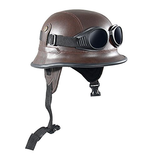 Shsyue Leather Motorcycle Half Open Face Helmet with Goggle Brown Retro Vintage - Military Goggles Vintage