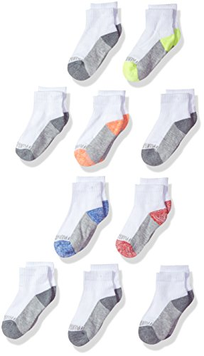 Fruit of the Loom Big Boys' 10 Pack Half Cushion Ankle Socks, White Assort, Shoe Size: 3-9 (Large)