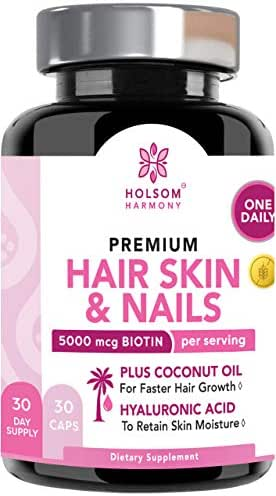 Biotin 5000 mcg - (ONE Daily)   Hair Growth Vitamins with Coconut Oil   Supports Healthy Hair Skin and Nails   Non GMO,Organic(1 Month Supply)